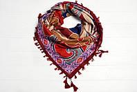 Женский платок из разнообразных узоров в этно-стиле с бахрамой