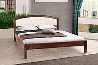 Кровать Джульетта с мягким изголовьем (темный орех) (Ольха)