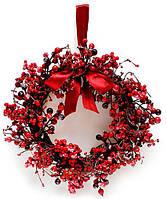 """Новогодний венок """"Калина"""" размер 40 см, рождественский венок"""