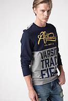 Серый мужской свитшот De Facto/ Де Факто с надписью на груди Varsity track field