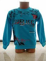 """Батник """"subject"""" на флисе для мальчика от 8до 12лет голубой"""