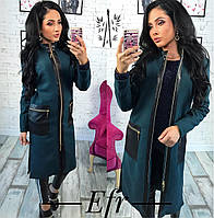 Кашемировое пальто со вставками из эко-кожи