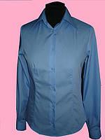 Женская блузка на длинный рукав голубого цвета