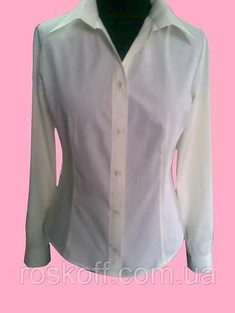 Женская блузка на длинный рукав розового цвета