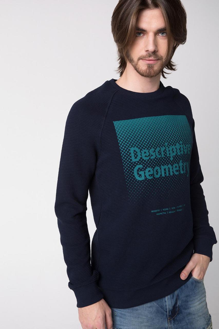 Темно-синий мужской свитшот De Facto/ Де Факто с надписью на груди Descriptive geometry