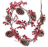 """Новогодняя ветка """"Цветок"""" размер 120 см, рождественский венок"""
