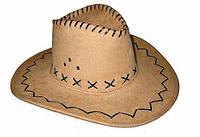 Шляпа ковбоя замшевая (бежевая) 170216-317