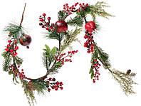 """Новогодняя ветка """"Гранат и хвоя"""" размер 120 см, рождественский венок"""