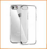 Силиконовый чехол (силиконовая накладка) Electroplated top and bottom for iPhone 7/8 Silver