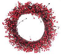 """Новогодний венок """"Красная ягода"""" размер 70 см, натуральные материалы, рождественский венок"""