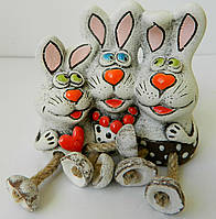 Керамічна статуетка міні трійка кролики Керамическая статуэтка мини тройка кролики