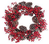 """Новогодний венок """"Красная ягода и шишки"""" размер 60 см, натуральные материалы, рождественский венок"""