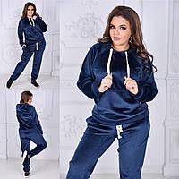 Женский модный тёплый спортивный костюм высоко-качественный меховой велюрразмеры 48 50 52 54 56