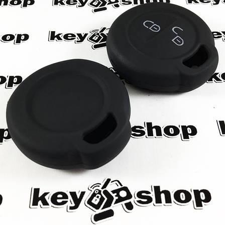 Чехол (черный, силиконовый) для авто ключа Mercedes Smart (Мерседес Смарт) 2 кнопки, фото 2