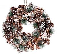 """Новогодний венок """"Снежные шишки"""" размер 42 см, натуральные материалы, рождественский венок"""