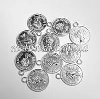 "Монетки  ""Queen"" 1,9 см, 10 шт.,  серебро"