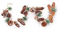 Гирлянда новогодняя из шишек, размер 130 см, натуральные материалы, рождественский декор