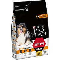 Purina Pro  Plan Dog Medium Adult с комплексом Optibalance 3кг - корм для собак средних пород c курицей