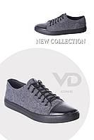 Полуботинки серый текстиль с кожаными вставками, VD one