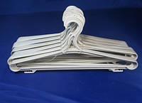 Белые пластмассовые вешалки плечики 42см плотные для верхней одежды, фото 1
