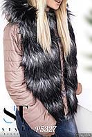 Женская куртка с эко мехом чернобурки