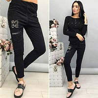 Стильные замшевые женские брюки с декором