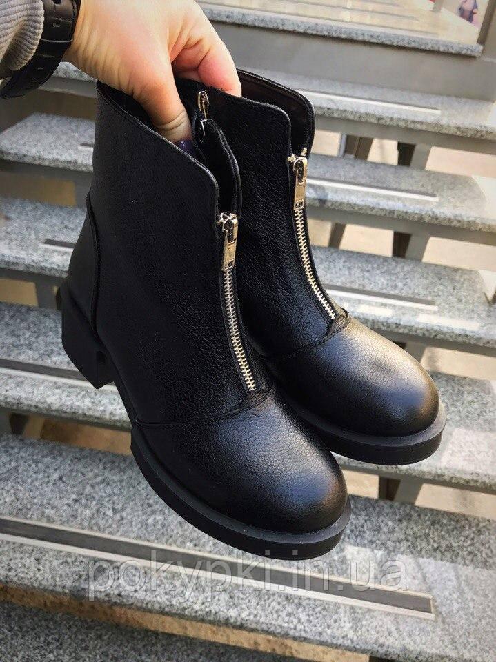 662ac21c5 Ботинки женские кожа круглый носок змейка спереди низкий широкий каблук  осень/зима