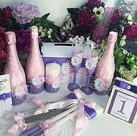 Свадебный набор в нежных лиловом и розовом тонах