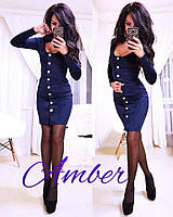 Замшевое платье с длинным рукавом с пуговицами спереди 803246