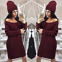 Вязаное прямое платье в комплекте с шапкой в расцветках 4003263