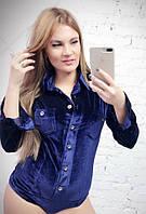 Бархатное женское боди-рубашка с длинным рукавом 581816