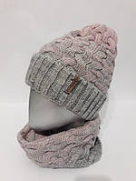 Женский трехцветный комплект из шапки и снуда 120733