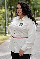 Женская кофта-баска в больших размерах под пояс 1015191