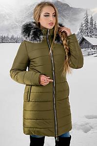 """Зимняя женская куртка """"Флорида Хаки Грей"""" до 54 размера"""
