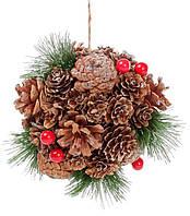 Новогоднее украшение Шар 14см с декором из ягод, шишек и звезд