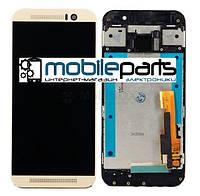 Оригинальный  Дисплей (Модуль) + Сенсор (Тачскрин) для HTC One M9 (С рамкой золотистой) (Черный)
