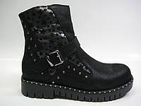 Женские кожаные демисезонные ботинки на тракторной подошве, фото 1