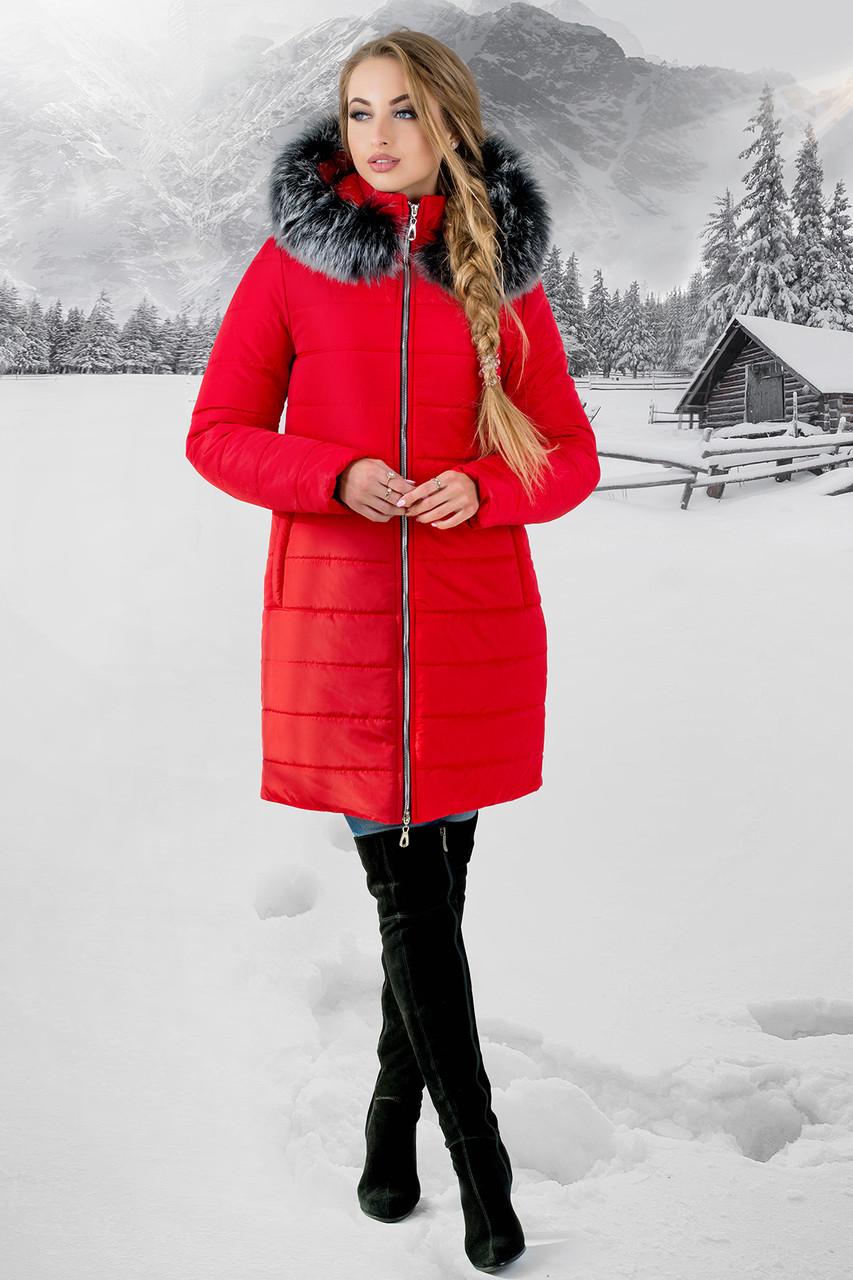 """Зимняя женская куртка """"Флорида Ред Грей"""" до 54 размера"""