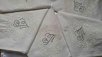 Набор эксклюзивных фамильных салфеток из хлопка с вышивкой ручной работы 6 шт