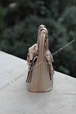 Женский рюкзак Fashion с брелком Мишка - Бежевый, фото 3