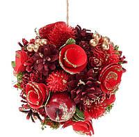 Новогоднее украшение Шар 16см с декором из ягод, шишек и звезд, набор 4 шт