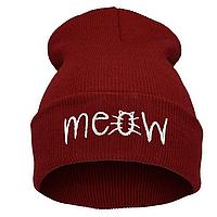 Модная женская трикотажная шапка MEOW красного цвета