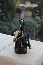 Женский рюкзак Fashion с брелком Мишка - Черный, фото 3
