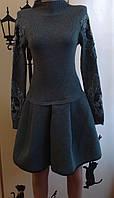 Вязаное платье с пышной юбкой  42-48р серый