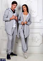 Стильный серый женский спортивный костюм с мантией с крестом и без креста на спине турецкая двухнить Арт-15069