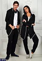 Стильный черн. женский спортивный костюм с мантией с крестом и без креста на спине турецкая двухнить Арт-15069