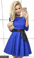 Молодежное платье с широким поясом не подкладе