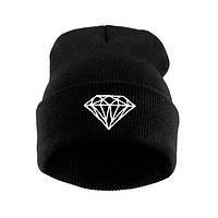 Модная женская трикотажная шапка с бриллиантом черного цвета