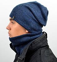 Вязаный мужской комплект из шапки и хомута