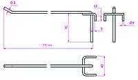 Крючок одинарный для сетки торговой перфорации длина 200 мм